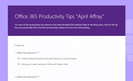 Office 365 Productivity Tips April 2019 Survey