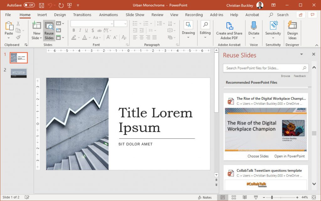 Selecting from PowerPoint slides for reuse
