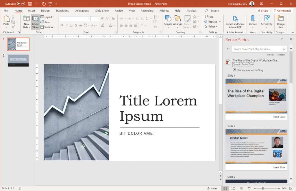 Inserting files from existing PowerPoint presentation for reuse