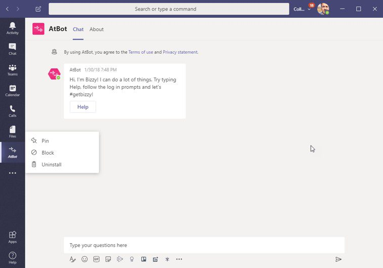 Pin an app in Microsoft Teams