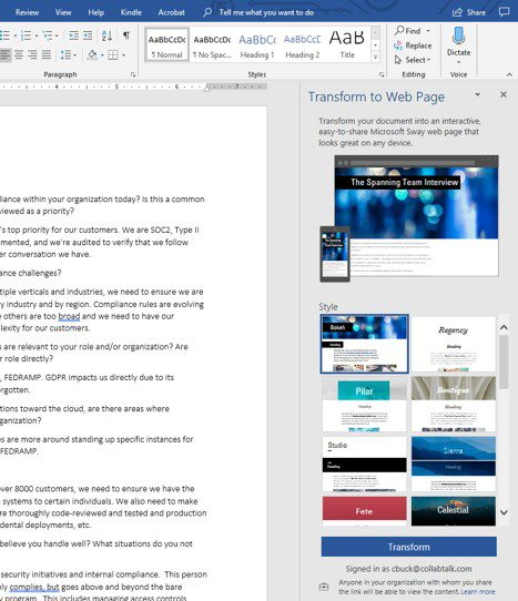 Transform a Word document to a webpage