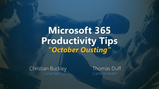 Microsoft 365 Productivity Tips -- October Ousting, October 2020