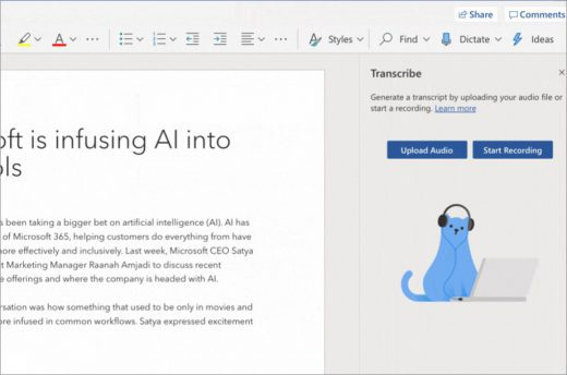 Transcribing video in Microsoft Word for the Web